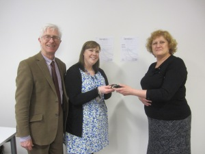 Sue Bowles )on the right) presenting the prize to Emma Donaldson